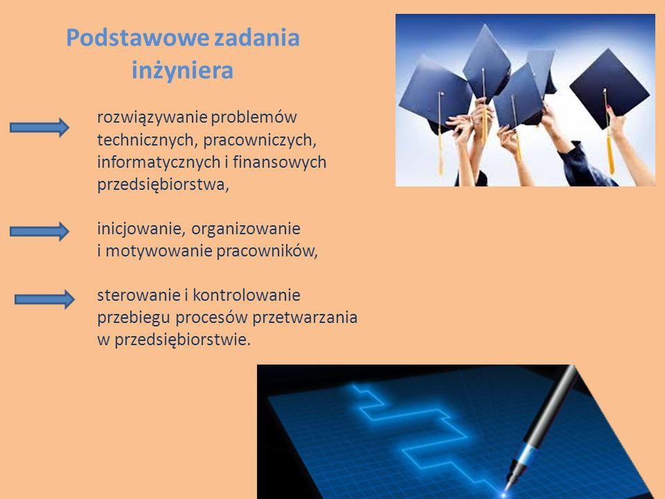 Podstawowe zadania inżyniera rozwiązywanie problemów technicznych, pracowniczych, informatycznych i finansowych przedsiębiorstwa, inicjowanie, organizowanie i motywowanie pracowników, sterowanie i kontrolowanie przebiegu procesów przetwarzania w przedsiębiorstwie.