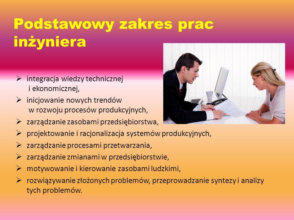 Podstawowy zakres prac inżyniera  integracja wiedzy technicznej i ekonomicznej,  inicjowanie nowych trendów w rozwoju procesów produkcyjnych,  zarządzanie zasobami przedsiębiorstwa,  projektowanie i racjonalizacja systemów produkcyjnych,  zarządzanie procesami przetwarzania,  zarządzanie zmianami w przedsiębiorstwie,  motywowanie i kierowanie zasobami ludzkimi,  rozwiązywanie złożonych problemów, przeprowadzanie syntezy i analizy tych problemów.