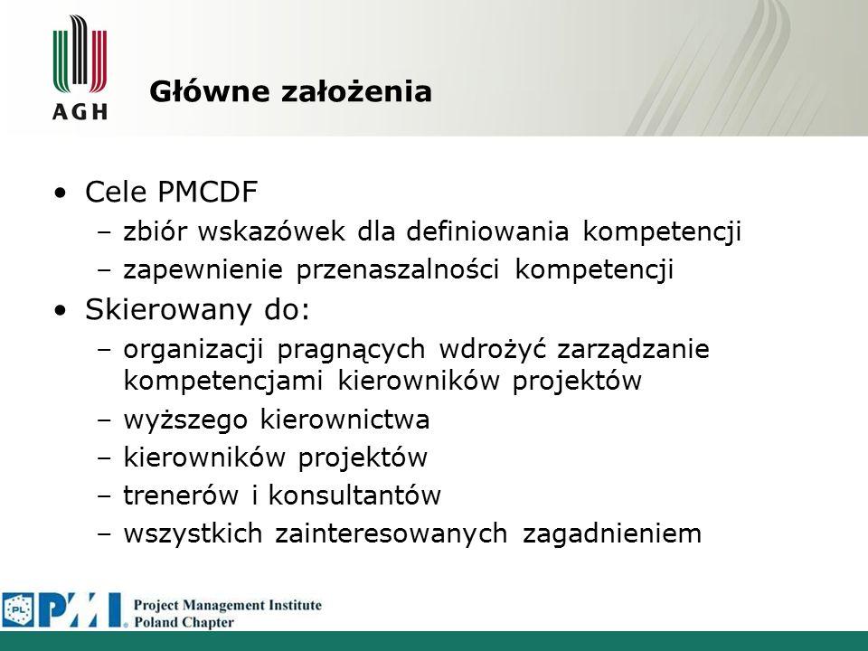 Główne założenia Cele PMCDF –zbiór wskazówek dla definiowania kompetencji –zapewnienie przenaszalności kompetencji Skierowany do: –organizacji pragnąc