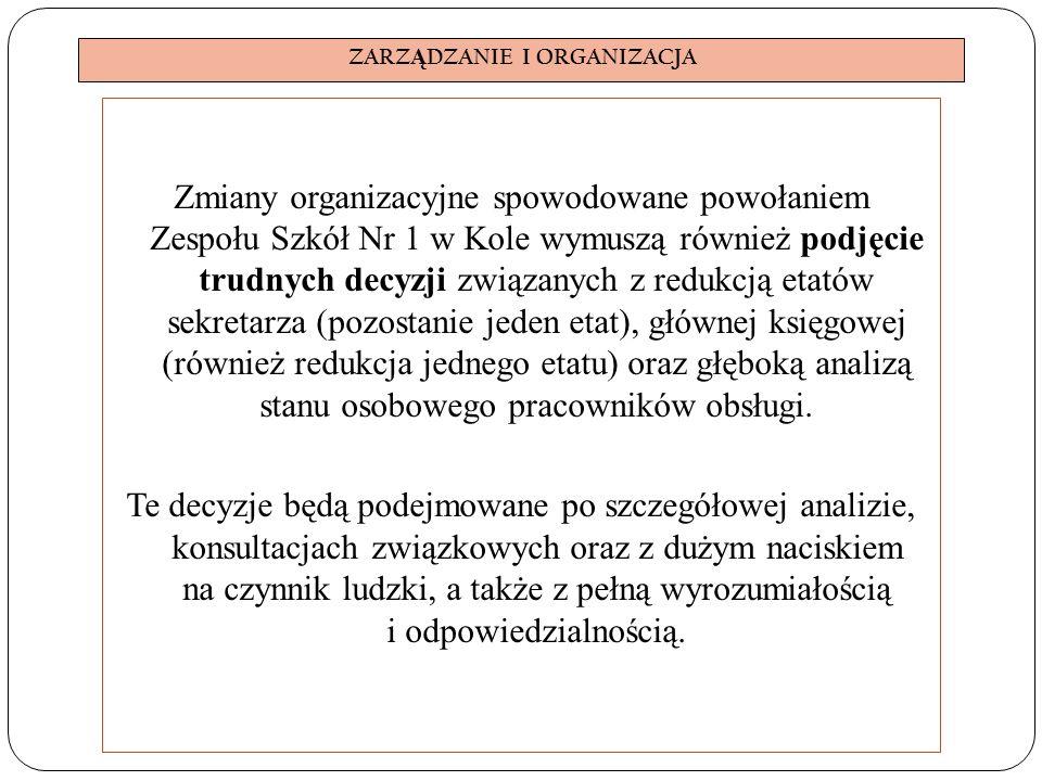 ZARZ Ą DZANIE I ORGANIZACJA Zmiany organizacyjne spowodowane powołaniem Zespołu Szkół Nr 1 w Kole wymuszą również podjęcie trudnych decyzji związanych z redukcją etatów sekretarza (pozostanie jeden etat), głównej księgowej (również redukcja jednego etatu) oraz głęboką analizą stanu osobowego pracowników obsługi.