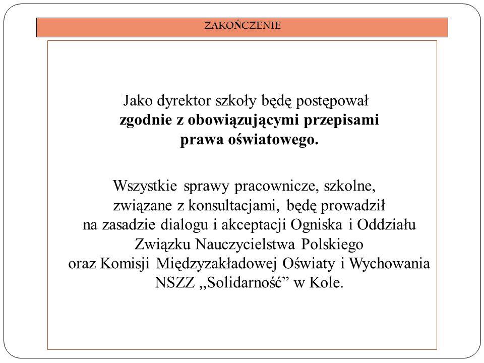 ZAKO Ń CZENIE Jako dyrektor szkoły będę postępował zgodnie z obowiązującymi przepisami prawa oświatowego.
