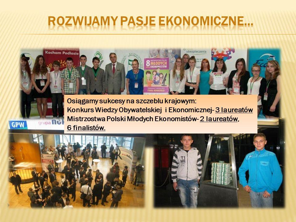 Osiągamy sukcesy na szczeblu krajowym: Konkurs Wiedzy Obywatelskiej i Ekonomicznej- 3 laureatów Mistrzostwa Polski Młodych Ekonomistów- 2 laureatów, 6 finalistów.
