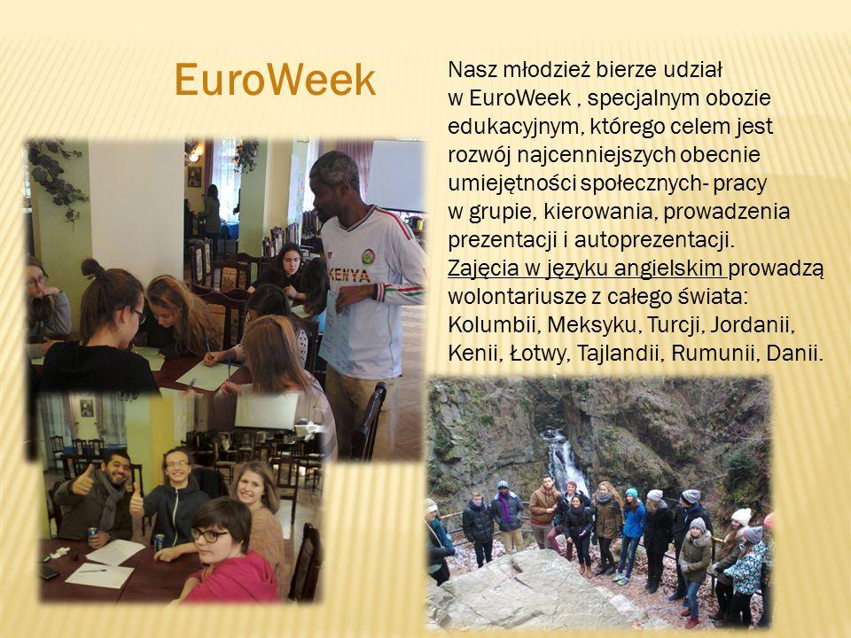 Nasz młodzież bierze udział w EuroWeek, specjalnym obozie edukacyjnym, którego celem jest rozwój najcenniejszych obecnie umiejętności społecznych- pracy w grupie, kierowania, prowadzenia prezentacji i autoprezentacji.