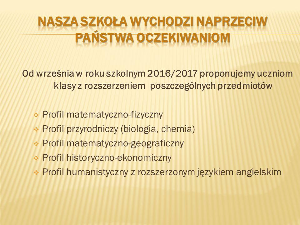 Od września w roku szkolnym 2016/2017 proponujemy uczniom klasy z rozszerzeniem poszczególnych przedmiotów  Profil matematyczno-fizyczny  Profil przyrodniczy (biologia, chemia)  Profil matematyczno-geograficzny  Profil historyczno-ekonomiczny  Profil humanistyczny z rozszerzonym językiem angielskim