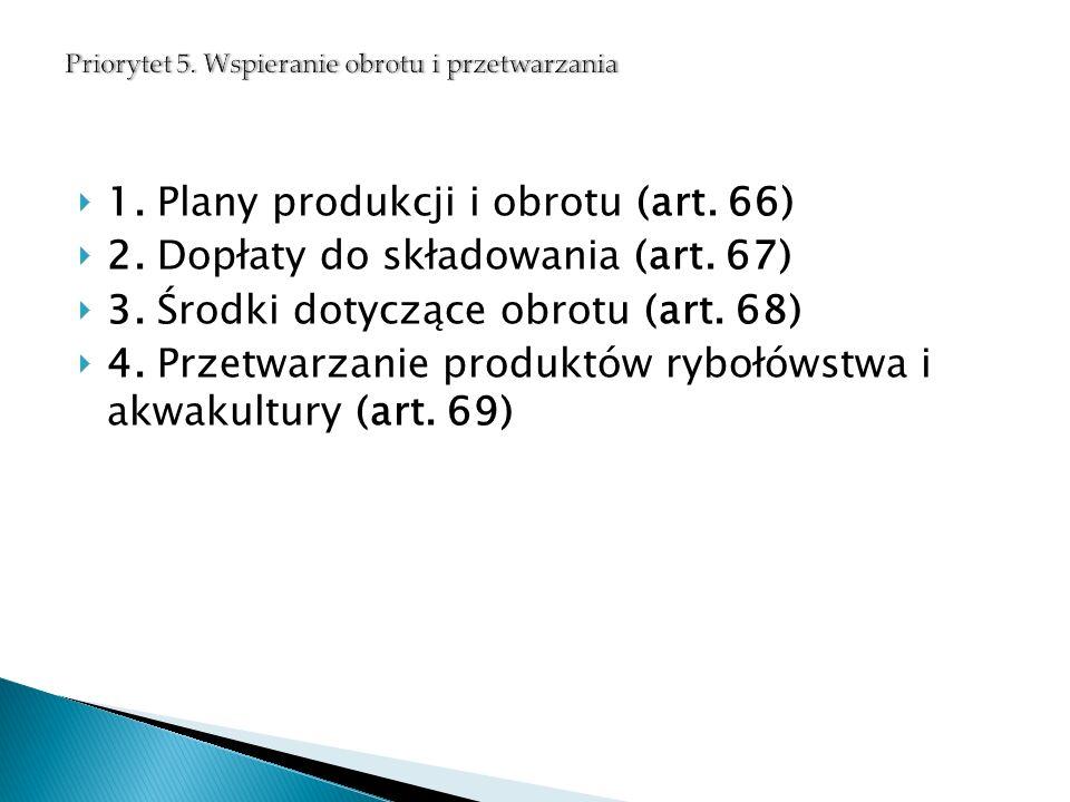  1. Plany produkcji i obrotu (art. 66)  2. Dopłaty do składowania (art.
