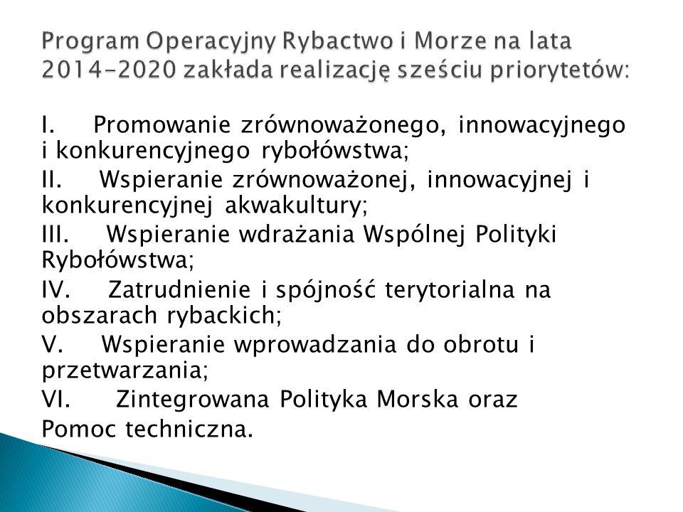 I. Promowanie zrównoważonego, innowacyjnego i konkurencyjnego rybołówstwa; II.