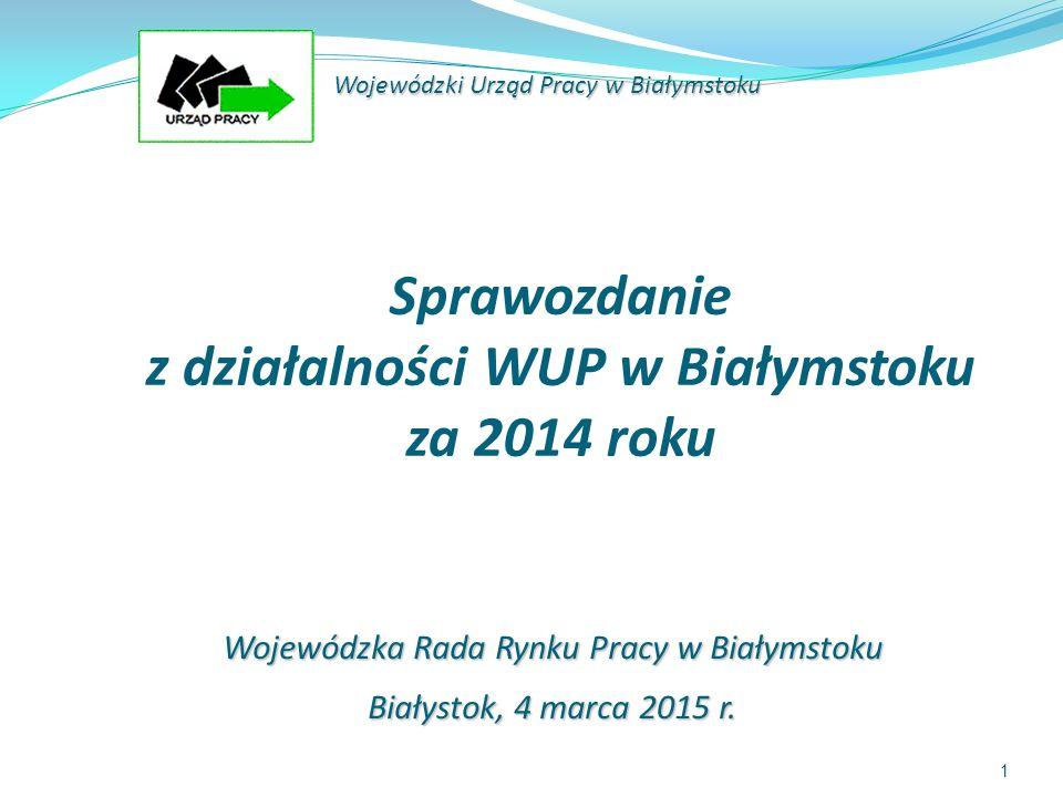 1 Sprawozdanie z działalności WUP w Białymstoku za 2014 roku Wojewódzki Urząd Pracy w Białymstoku Wojewódzka Rada Rynku Pracy w Białymstoku Białystok, 4 marca 2015 r.