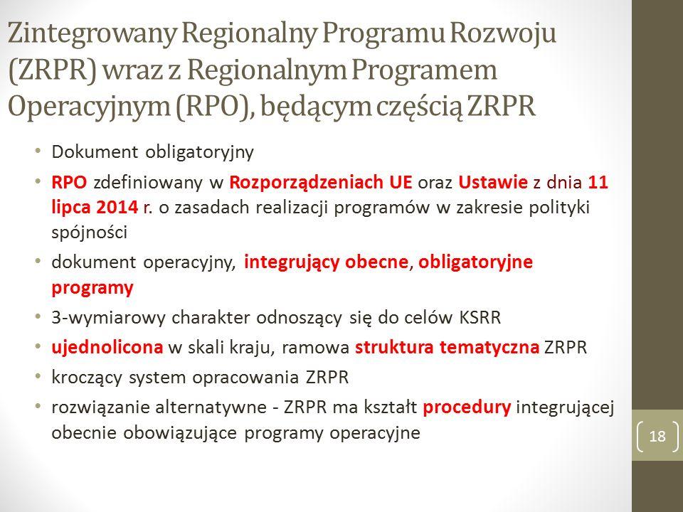 Zintegrowany Regionalny Programu Rozwoju (ZRPR) wraz z Regionalnym Programem Operacyjnym (RPO), będącym częścią ZRPR Dokument obligatoryjny RPO zdefiniowany w Rozporządzeniach UE oraz Ustawie z dnia 11 lipca 2014 r.