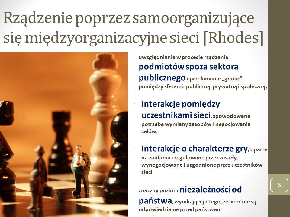 """Rządzenie poprzez samoorganizujące się międzyorganizacyjne sieci [Rhodes] 6  uwzględnianie w procesie rządzenia podmiotów spoza sektora publicznego i przełamanie """"granic pomiędzy sferami: publiczną, prywatną i społeczną;  Interakcje pomiędzy uczestnikami sieci, spowodowane potrzebą wymiany zasobów i negocjowania celów;  Interakcje o charakterze gry, oparte na zaufaniu i regulowane przez zasady, wynegocjowane i uzgodnione przez uczestników sieci  znaczny poziom niezależności od państwa, wynikającej z tego, że sieci nie są odpowiedzialne przed państwem"""