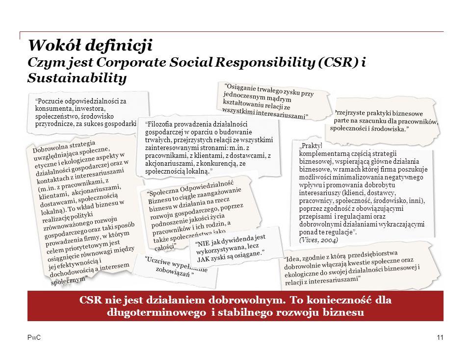 PwC Dobrowolna strategia uwzględniająca społeczne, etyczne i ekologiczne aspekty w działalności gospodarczej oraz w kontaktach z interesariuszami (m.in.