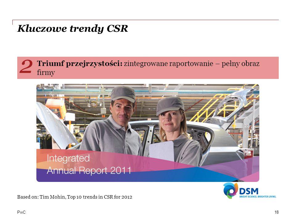 PwC Kluczowe trendy CSR Based on: Tim Mohin, Top 10 trends in CSR for 2012 Triumf przejrzystości: zintegrowane raportowanie – pełny obraz firmy 2 18