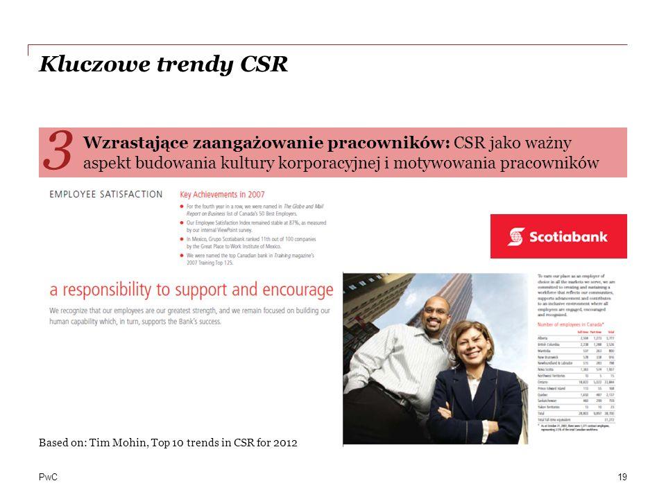 PwC Kluczowe trendy CSR Wzrastające zaangażowanie pracowników: CSR jako ważny aspekt budowania kultury korporacyjnej i motywowania pracowników 3 Based on: Tim Mohin, Top 10 trends in CSR for 2012 19