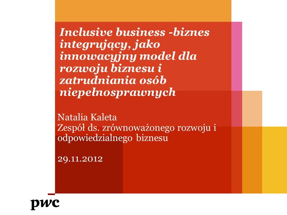 Inclusive business -biznes integrujący, jako innowacyjny model dla rozwoju biznesu i zatrudniania osób niepełnosprawnych Natalia Kaleta Zespół ds.