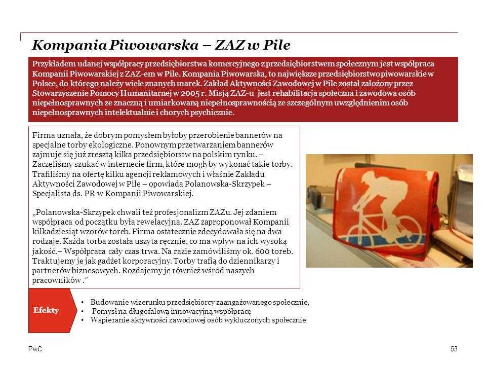 PwC Kompania Piwowarska – ZAZ w Pile Firma uznała, że dobrym pomysłem byłoby przerobienie bannerów na specjalne torby ekologiczne.