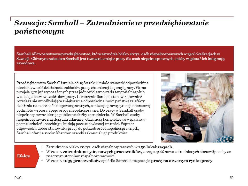 PwC Szwecja: Samhall – Zatrudnienie w przedsiębiorstwie państwowym 59 Przedsiębiorstwo Samhall istnieje od 1980 roku i miało stanowić odpowiedź na nieefektywność działalności zakładów pracy chronionej i agencji pracy.