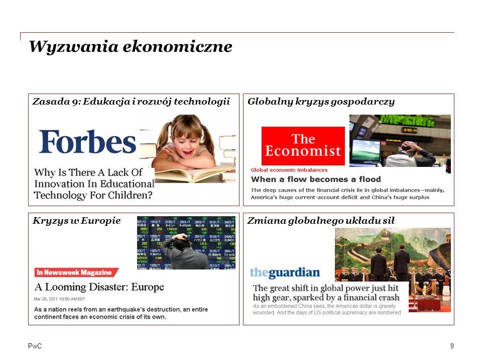 PwC Wyzwania ekonomiczne Zasada 9: Edukacja i rozwój technologiiGlobalny kryzys gospodarczy Kryzys w EuropieZmiana globalnego układu sił 9