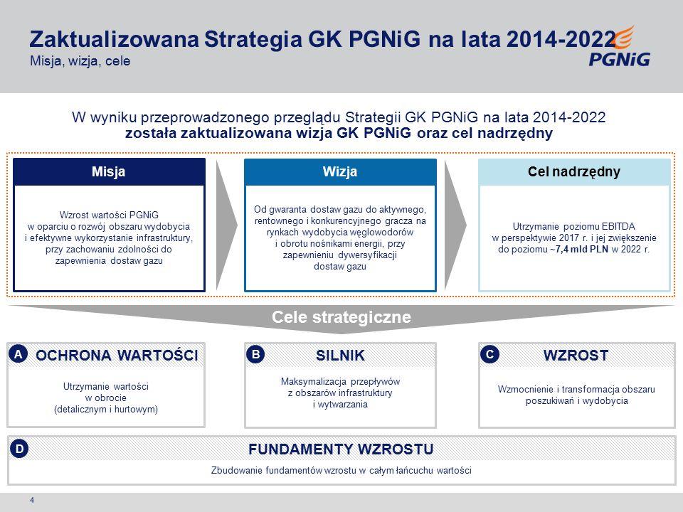 5 8a Utrzymanie wartości w obrocie (detalicznym i hurtowym) A 1a 2a Wzmocnienie i transformacja obszaru poszukiwań i wydobycia C 5 6 7 Maksymalizacja przepływów z obszarów infrastruktury i wytwarzania B 3a 4 Zbudowanie fundamentów wzrostu w całym łańcuchu wartości D 9 10 3b 8b 1c 1b 2b 8c Strategia GK PGNiG na lata 2014-2022 Kolorem niebieskim zaznaczono inicjatywy nowe lub zmodyfikowane Optymalizacja zarządzania portfelem gazu ziemnego oraz wdrożenie nowego modelu sprzedaży hurtowej Opracowanie i wdrożenie nowego modelu sprzedaży detalicznej Utrzymanie wydobycia krajowego ze złóż konwencjonalnych Potwierdzenie geologicznego i ekonomicznego potencjału złóż typu shale gas w Polsce Rozwój działalności upstream poza granicami Polski Maksymalizacja wartości w obszarze infrastruktury sieciowej – dystrybucja gazu Aktywny udział we współtworzeniu regulacji dotyczących rynku nośników energii Maksymalizacja wartości w obszarze infrastruktury sieciowej – dystrybucja ciepła Rozwój działalności tradingu LNG na rynku międzynarodowym Realizacja nowych inwestycji dywersyfikacyjnych Rozwój działalności sprzedażowej PST na rynkach międzynarodowych Zbudowanie organizacji opartej na efektywnym zarządzaniu zasobami ludzkimi, zorientowanej na cele i poszukiwanie zasobów Program Poprawy Efektywności w działalności podstawowej Intensyfikacja działalności badawczo-rozwojowej i poszukiwanie innowacyjnych obszarów wzrostu Zbycie nieruchomości non-core Zbycie spółek non-core Zaktualizowana Strategia GK PGNiG na lata 2014-2022 Filary Strategii GK PGNiG na lata 2014-2022