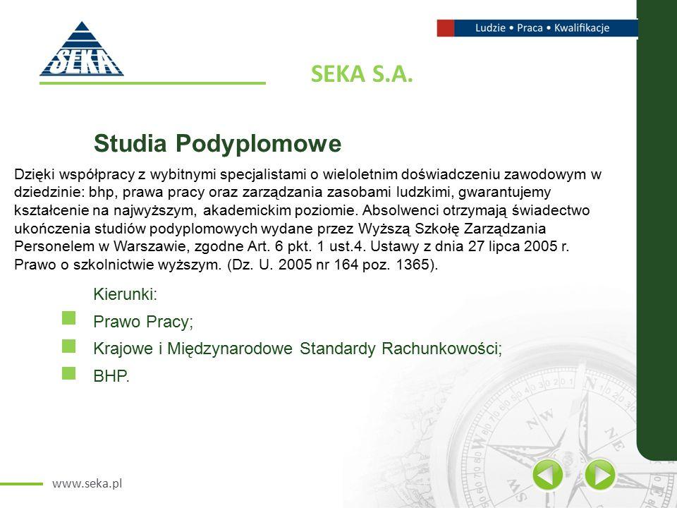 www.seka.pl Zapraszamy do współpracy.SEKA S.A./oddział Wrocław ul.