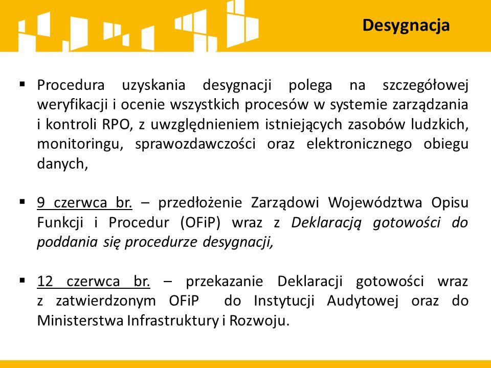 Desygnacja  Procedura uzyskania desygnacji polega na szczegółowej weryfikacji i ocenie wszystkich procesów w systemie zarządzania i kontroli RPO, z u