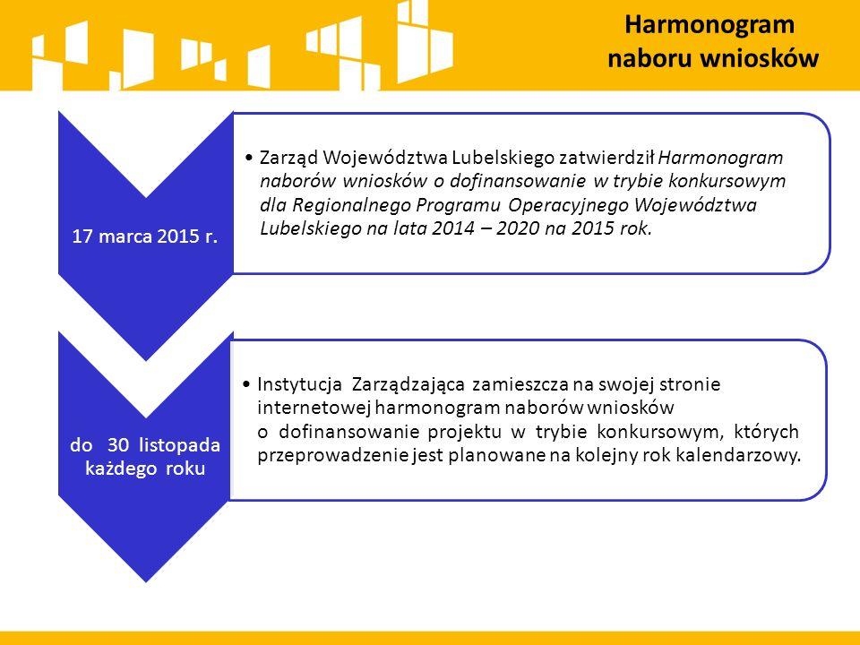 17 marca 2015 r. Zarząd Województwa Lubelskiego zatwierdził Harmonogram naborów wniosków o dofinansowanie w trybie konkursowym dla Regionalnego Progra