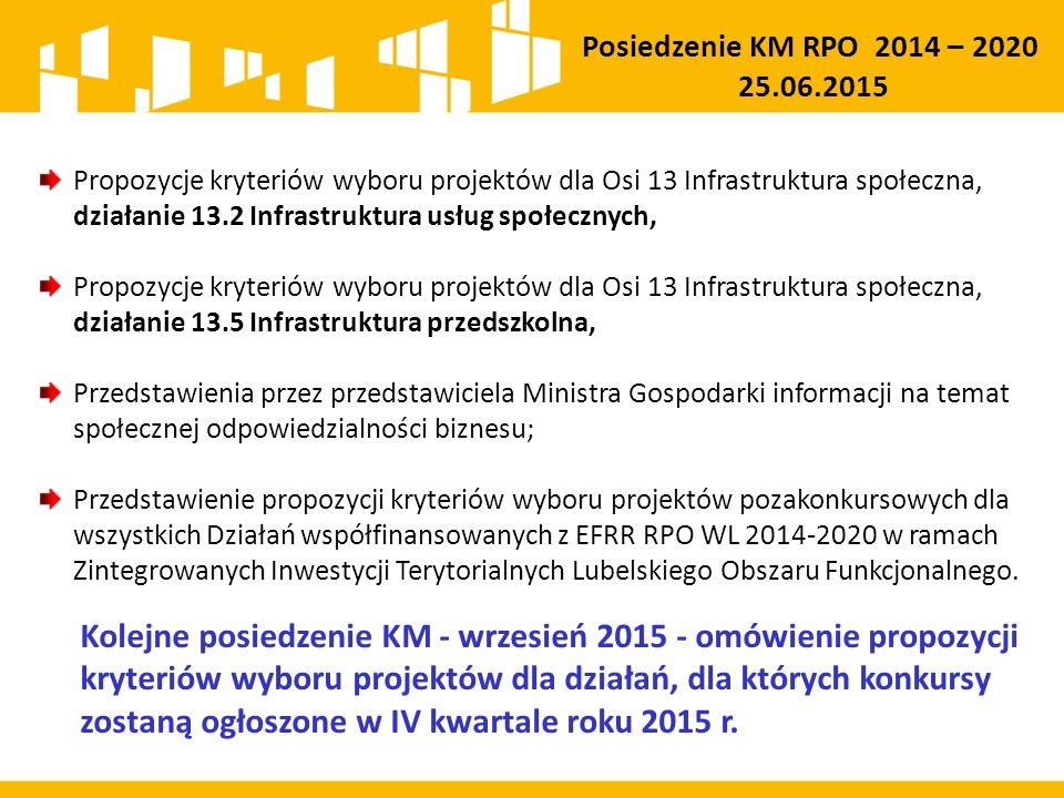 Propozycje kryteriów wyboru projektów dla Osi 13 Infrastruktura społeczna, działanie 13.2 Infrastruktura usług społecznych, Propozycje kryteriów wyboru projektów dla Osi 13 Infrastruktura społeczna, działanie 13.5 Infrastruktura przedszkolna, Przedstawienia przez przedstawiciela Ministra Gospodarki informacji na temat społecznej odpowiedzialności biznesu; Przedstawienie propozycji kryteriów wyboru projektów pozakonkursowych dla wszystkich Działań współfinansowanych z EFRR RPO WL 2014-2020 w ramach Zintegrowanych Inwestycji Terytorialnych Lubelskiego Obszaru Funkcjonalnego.