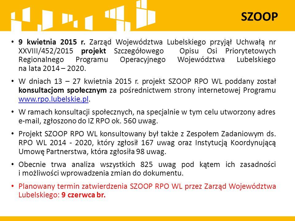 9 kwietnia 2015 r. Zarząd Województwa Lubelskiego przyjął Uchwałą nr XXVIII/452/2015 projekt Szczegółowego Opisu Osi Priorytetowych Regionalnego Progr