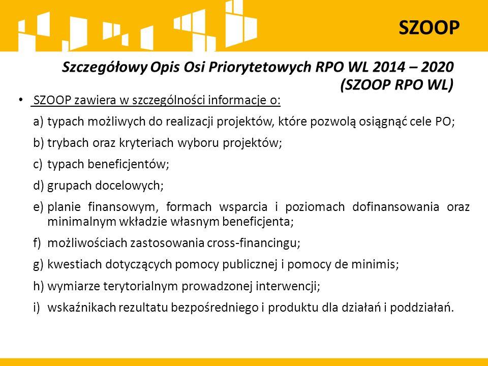 Szczegółowy Opis Osi Priorytetowych RPO WL 2014 – 2020 (SZOOP RPO WL) SZOOP zawiera w szczególności informacje o: a)typach możliwych do realizacji pro