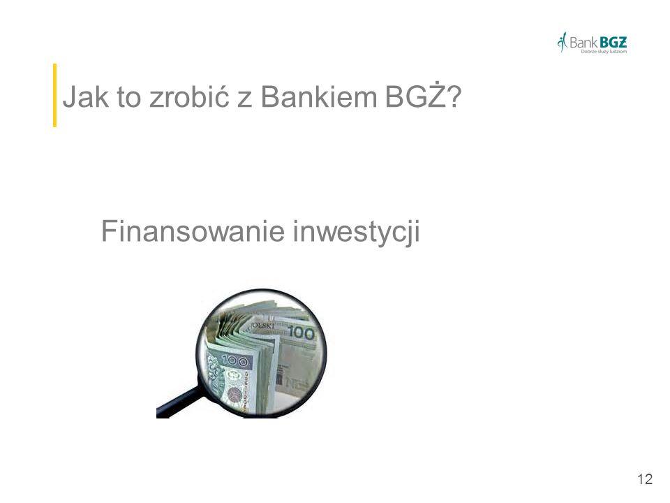 12 Jak to zrobić z Bankiem BGŻ Finansowanie inwestycji