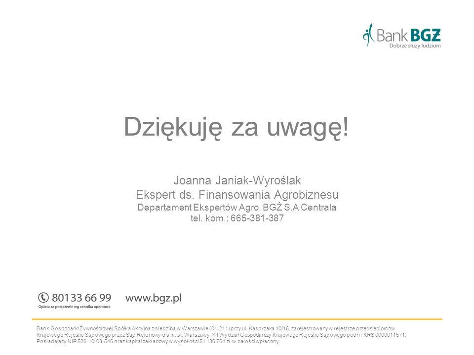Bank Gospodarki Żywnościowej Spółka Akcyjna z siedzibą w Warszawie (01-211) przy ul.