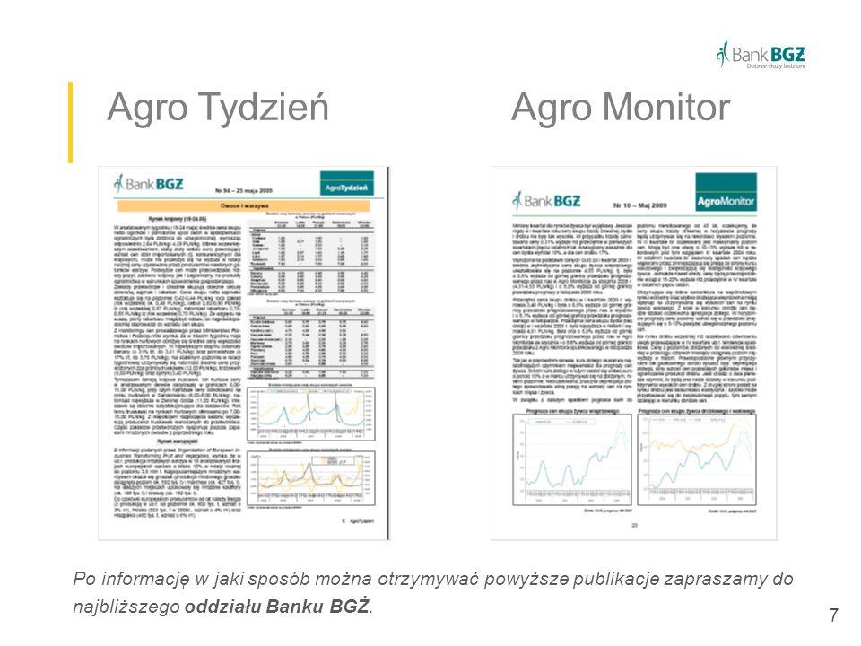 7 Agro Tydzień Agro Monitor Po informację w jaki sposób można otrzymywać powyższe publikacje zapraszamy do najbliższego oddziału Banku BGŻ.