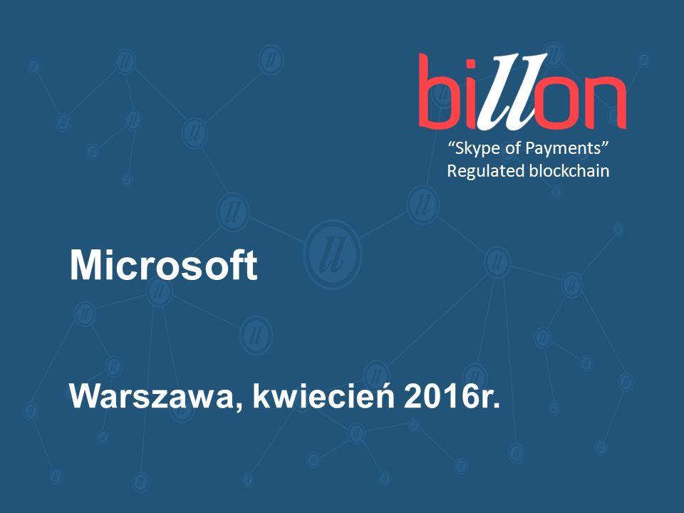 Skype of Payments Regulated blockchain Microsoft Warszawa, kwiecień 2016r.