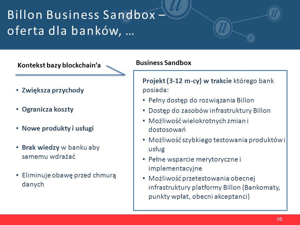 16 Billon Business Sandbox – oferta dla banków, … Kontekst bazy blockchain'a Zwiększa przychody Ogranicza koszty Nowe produkty i usługi Brak wiedzy w banku aby samemu wdrażać Eliminuje obawę przed chmurą danych Business Sandbox Projekt (3-12 m-cy) w trakcie którego bank posiada: Pełny dostęp do rozwiązania Billon Dostęp do zasobów infrastruktury Billon Możliwość wielokrotnych zmian i dostosowań Możliwość szybkiego testowania produktów i usług Pełne wsparcie merytoryczne i implementacyjne Możliwość przetestowania obecnej infrastruktury platformy Billon (Bankomaty, punkty wpłat, obecni akceptanci)