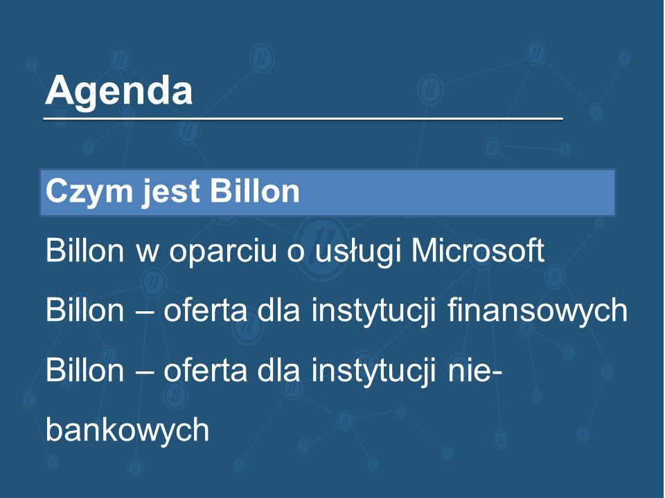 Agenda Czym jest Billon Billon w oparciu o usługi Microsoft Billon – oferta dla instytucji finansowych Billon – oferta dla instytucji nie- bankowych