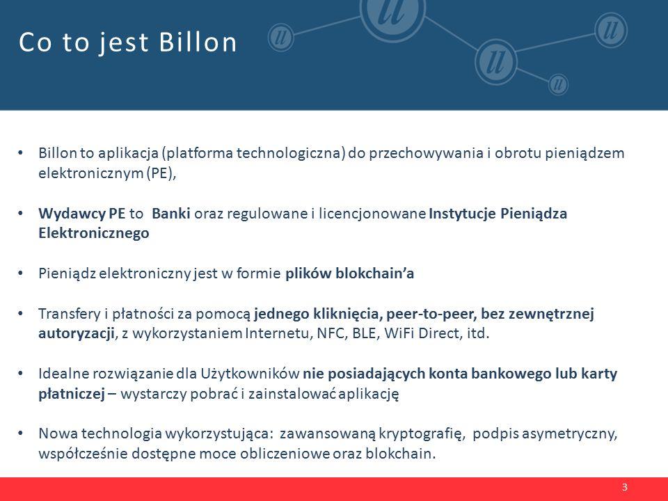 Co to jest Billon 3 Billon to aplikacja (platforma technologiczna) do przechowywania i obrotu pieniądzem elektronicznym (PE), Wydawcy PE to Banki oraz regulowane i licencjonowane Instytucje Pieniądza Elektronicznego Pieniądz elektroniczny jest w formie plików blokchain'a Transfery i płatności za pomocą jednego kliknięcia, peer-to-peer, bez zewnętrznej autoryzacji, z wykorzystaniem Internetu, NFC, BLE, WiFi Direct, itd.