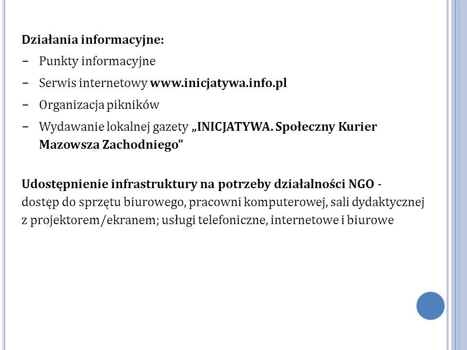 """Działania informacyjne:  Punkty informacyjne  Serwis internetowy www.inicjatywa.info.pl  Organizacja pikników  Wydawanie lokalnej gazety """"INICJATYWA."""