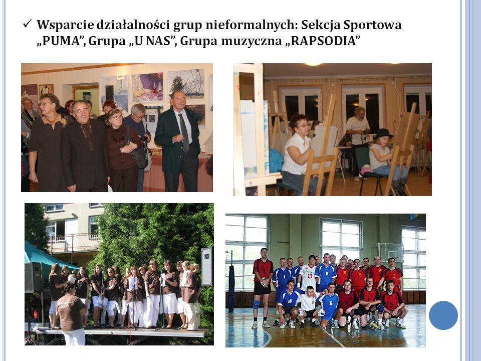 """Wsparcie działalności grup nieformalnych: Sekcja Sportowa """"PUMA , Grupa """"U NAS , Grupa muzyczna """"RAPSODIA"""