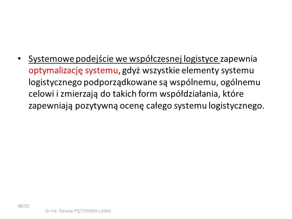 Systemowe podejście we współczesnej logistyce zapewnia optymalizację systemu, gdyż wszystkie elementy systemu logistycznego podporządkowane są wspólne