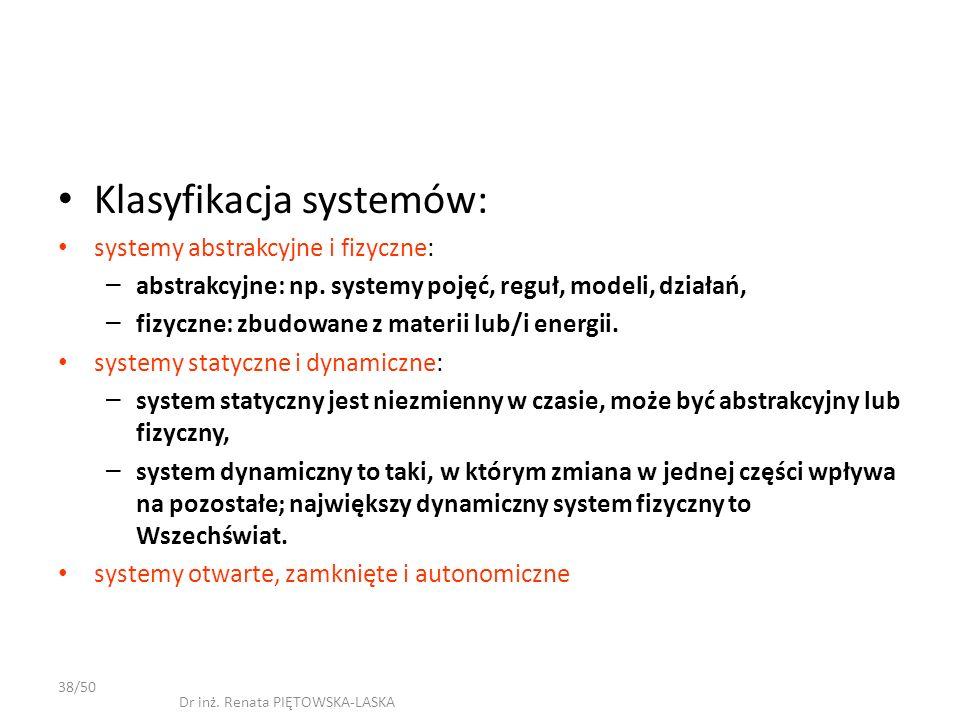 Klasyfikacja systemów: systemy abstrakcyjne i fizyczne: – abstrakcyjne: np. systemy pojęć, reguł, modeli, działań, – fizyczne: zbudowane z materii lub