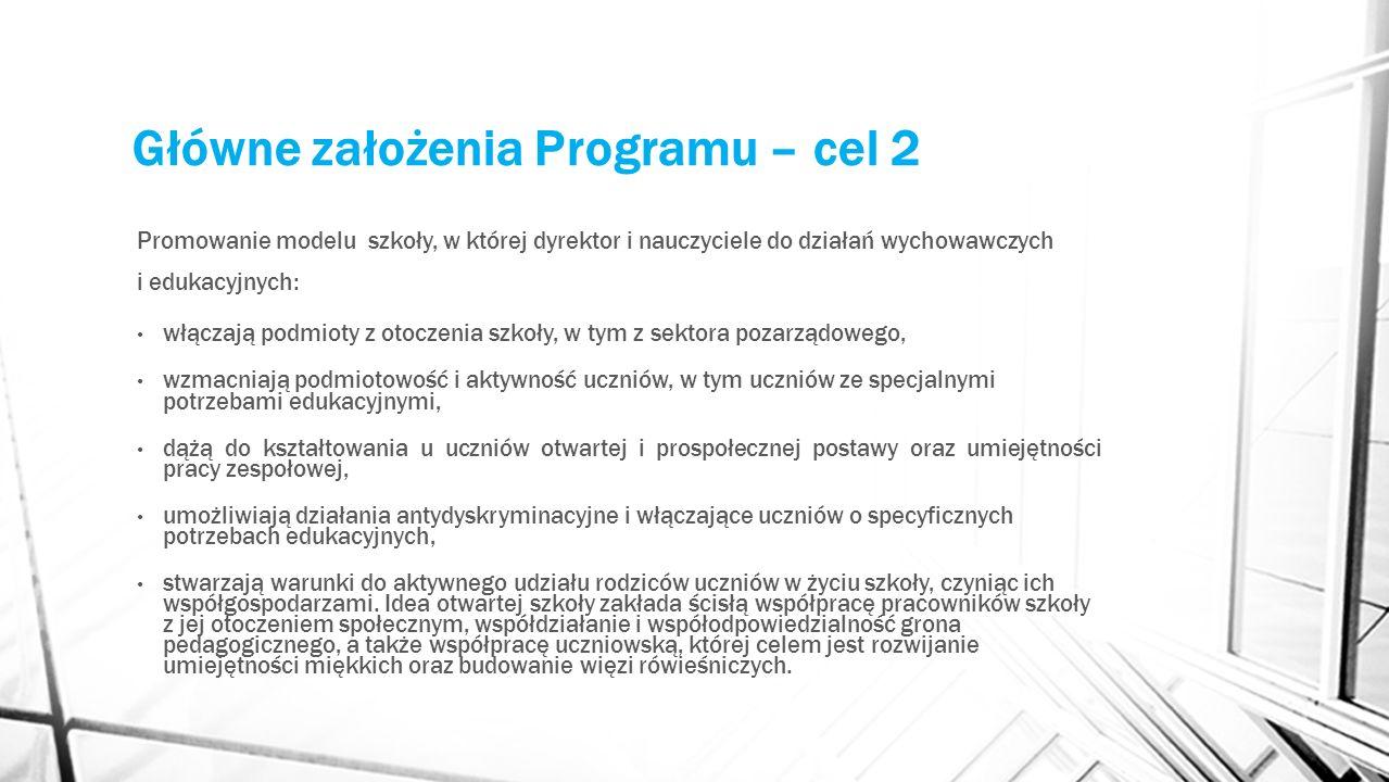 Główne założenia Programu – cel 2 Promowanie modelu szkoły, w której dyrektor i nauczyciele do działań wychowawczych i edukacyjnych: włączają podmioty