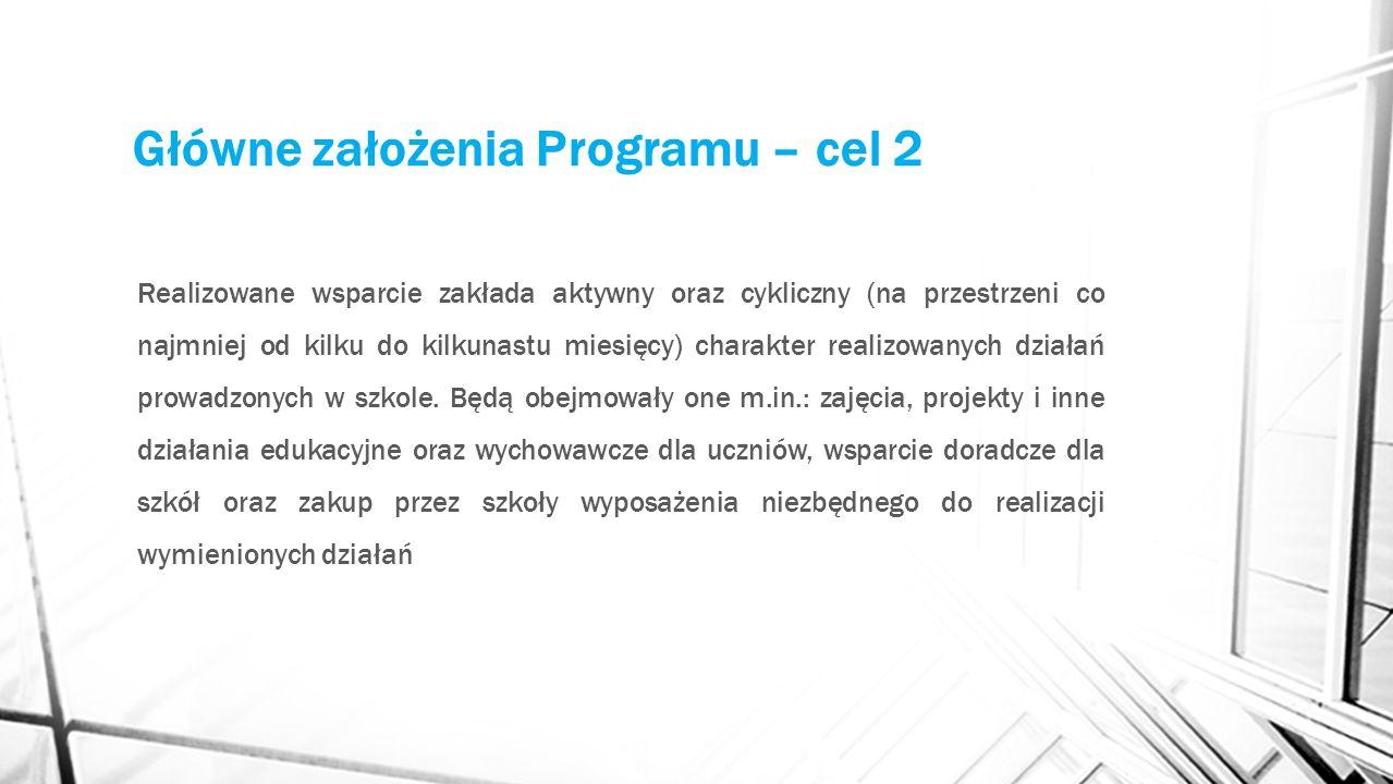 Główne założenia Programu – cel 2 Realizowane wsparcie zakłada aktywny oraz cykliczny (na przestrzeni co najmniej od kilku do kilkunastu miesięcy) charakter realizowanych działań prowadzonych w szkole.