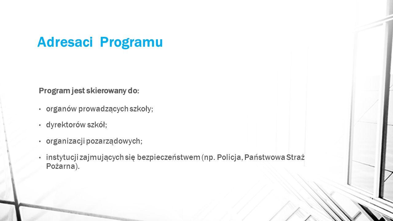 Adresaci Programu Program jest skierowany do: organów prowadzących szkoły; dyrektorów szkół; organizacji pozarządowych; instytucji zajmujących się bezpieczeństwem (np.