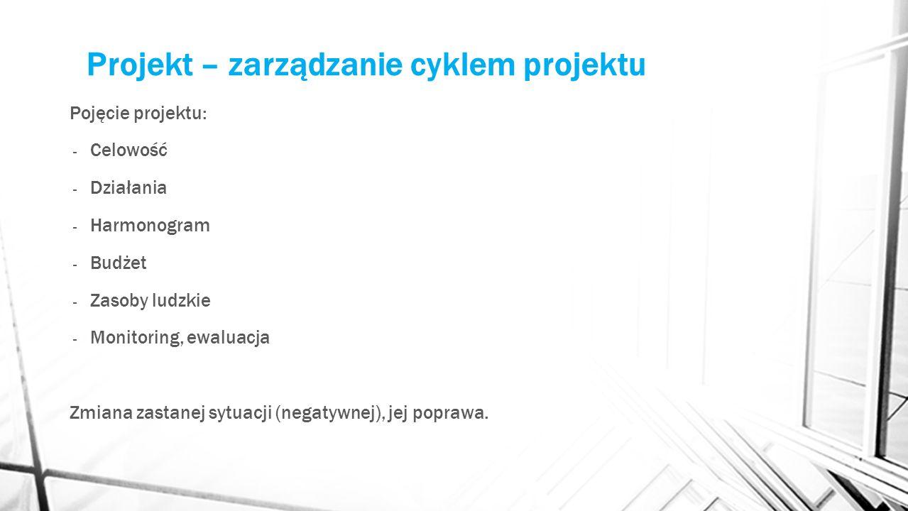 Projekt – zarządzanie cyklem projektu Pojęcie projektu: - Celowość - Działania - Harmonogram - Budżet - Zasoby ludzkie - Monitoring, ewaluacja Zmiana zastanej sytuacji (negatywnej), jej poprawa.