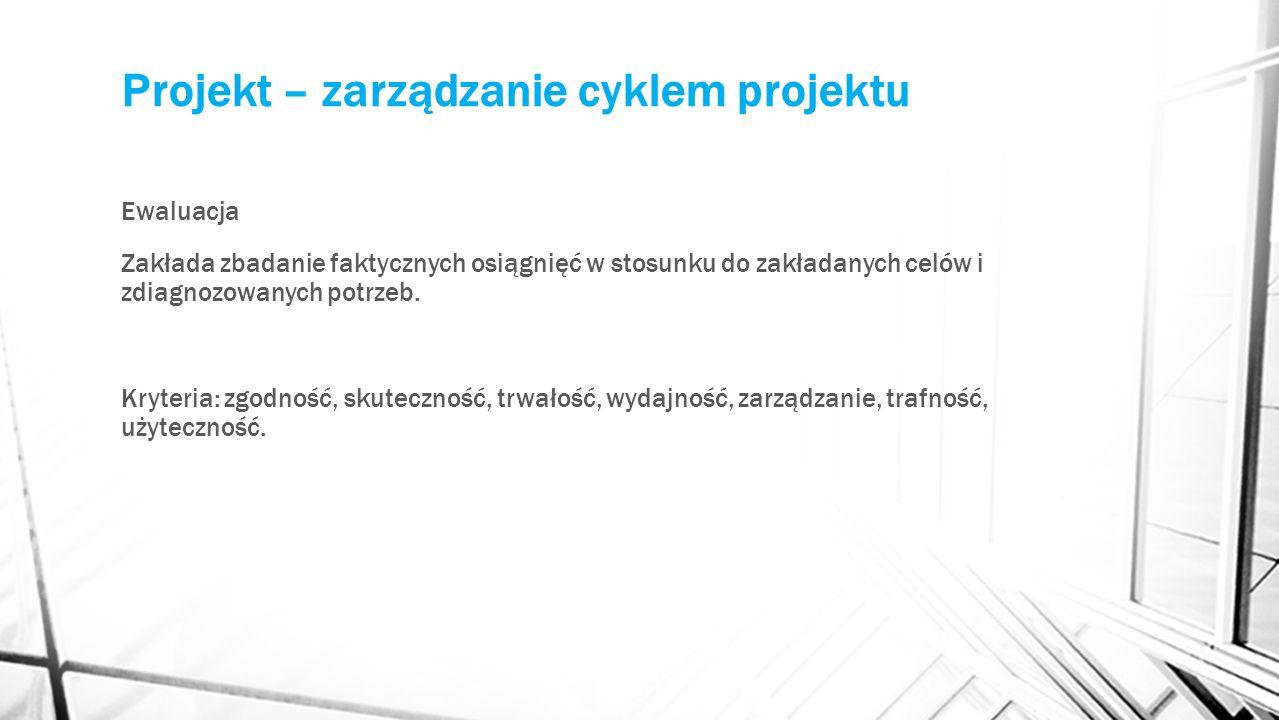 Projekt – zarządzanie cyklem projektu Ewaluacja Zakłada zbadanie faktycznych osiągnięć w stosunku do zakładanych celów i zdiagnozowanych potrzeb.