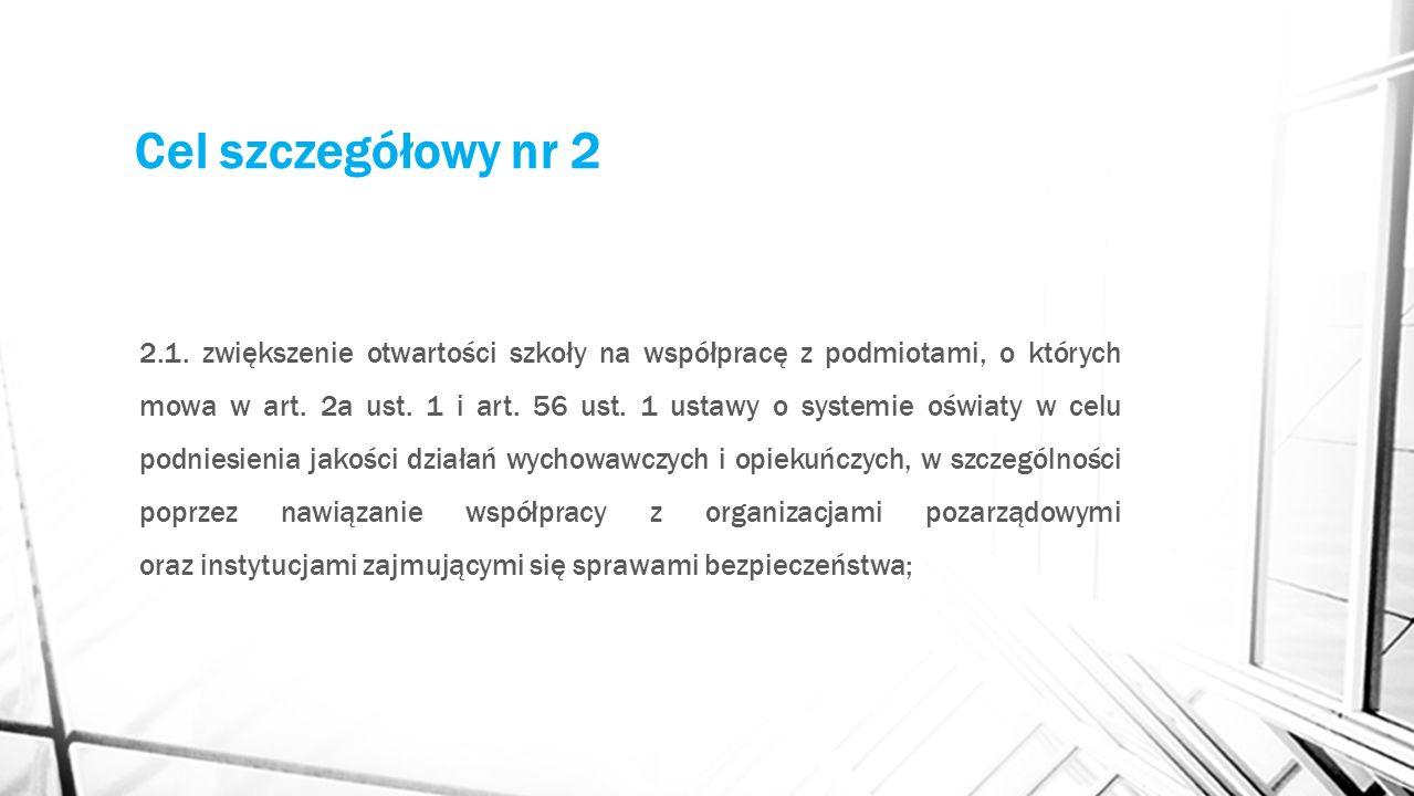 Cel szczegółowy nr 2 2.1. zwiększenie otwartości szkoły na współpracę z podmiotami, o których mowa w art. 2a ust. 1 i art. 56 ust. 1 ustawy o systemie
