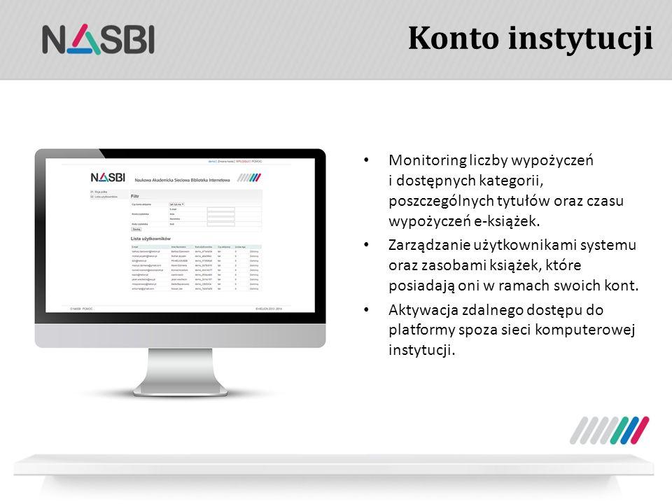 Konto instytucji Monitoring liczby wypożyczeń i dostępnych kategorii, poszczególnych tytułów oraz czasu wypożyczeń e-książek.