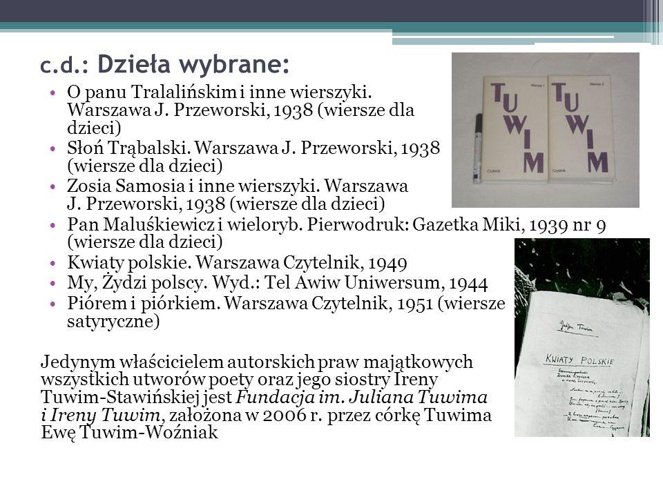 c.d.: Dzieła wybrane: O panu Tralalińskim i inne wierszyki.