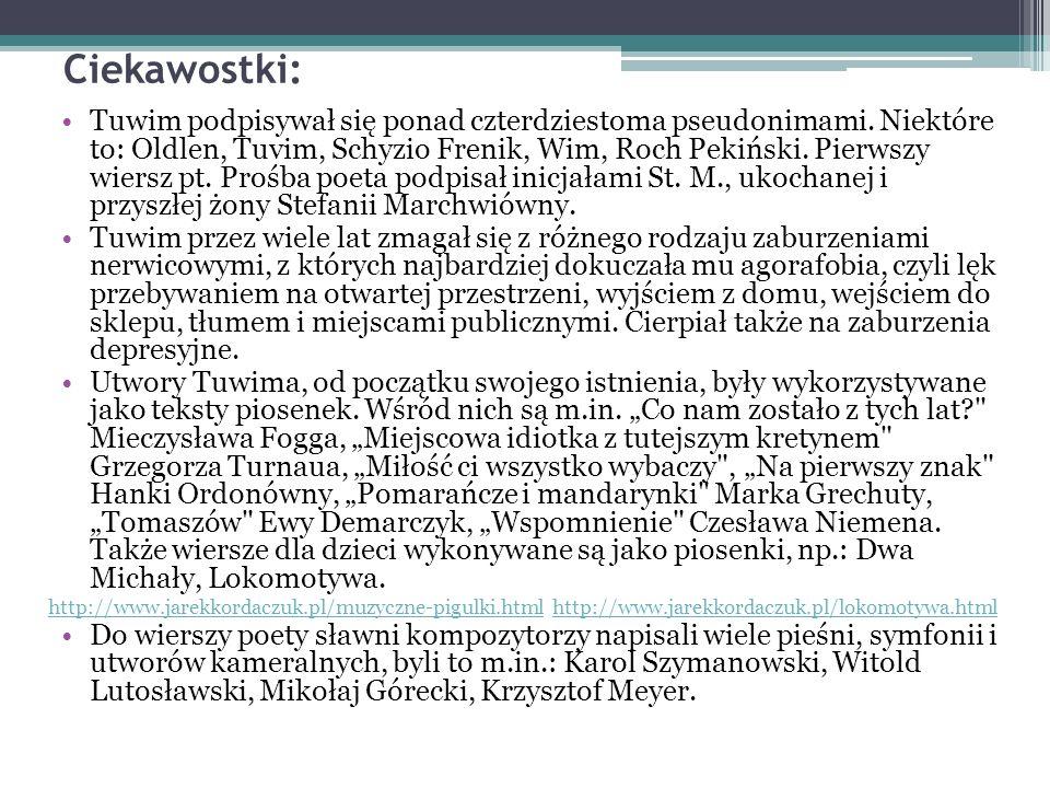Ciekawostki: Tuwim podpisywał się ponad czterdziestoma pseudonimami.