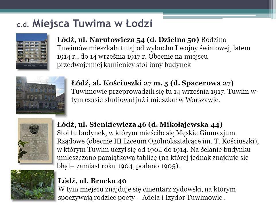 c.d. Miejsca Tuwima w Łodzi Łódź, ul. Narutowicza 54 (d.