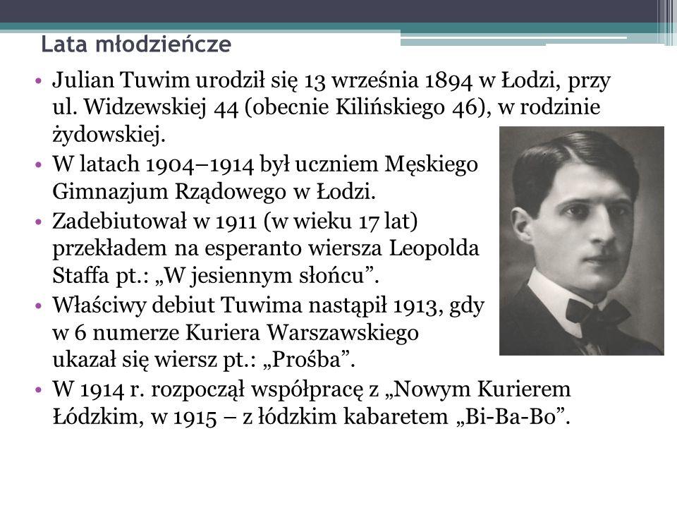 Lata młodzieńcze Julian Tuwim urodził się 13 września 1894 w Łodzi, przy ul.