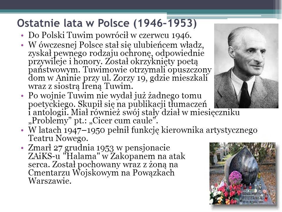 Ostatnie lata w Polsce (1946–1953) Do Polski Tuwim powrócił w czerwcu 1946.